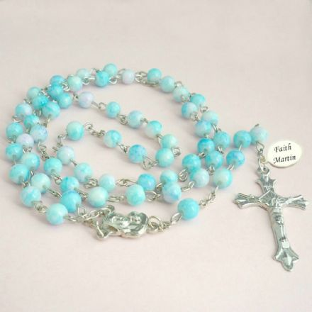 Rosary Beads in Pale Blue with Engraving